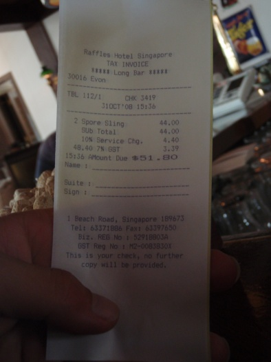 Raffles Hotel Receipt - Expensive Drinks