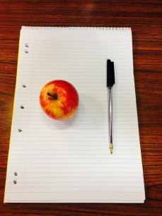 My Desk: Notebook, Apple & Pen