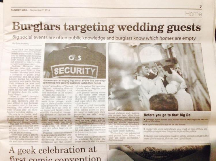 Sia and Nektarios Wedding Day in the Cypriot Newspaper